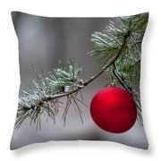 Red Christmas Ball Branch Throw Pillow
