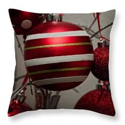 Red Christmas Balls Throw Pillow