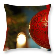 Red Christmas Bauble - Available For Licensing Throw Pillow
