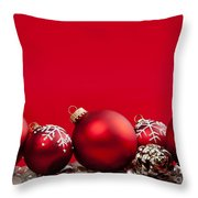 Red Christmas Baubles And Decorations Throw Pillow