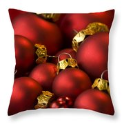 Red Christmas Baubles Throw Pillow by Anne Gilbert