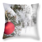 Red Christmas Ornament On Icy Tree Throw Pillow