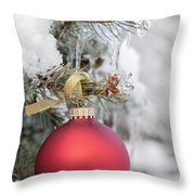 Red Christmas Ornament On Snowy Tree Throw Pillow