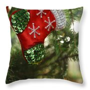 Red Christmas Stocking - Available For Licensing Throw Pillow