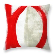 Red Circle 5- Abstract Painting Throw Pillow