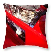 Red Classic Car Engine 2 Throw Pillow