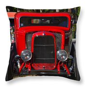Red Classic Hotrod Throw Pillow