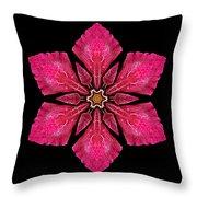 Red Clematis I Flower Mandala Throw Pillow