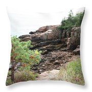 Red Cliffs Of Acadia  Throw Pillow