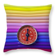 Red Compass On Rolls Of Colored Pencils Throw Pillow