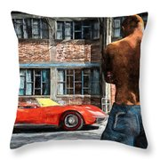 Red Corvette Throw Pillow by Bob Orsillo