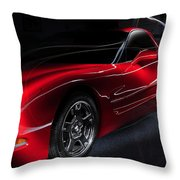 1997 Red Corvette Throw Pillow