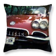 Red Corvette With Trees Throw Pillow