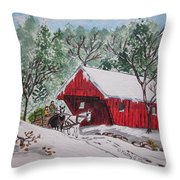 Red Covered Bridge Christmas Throw Pillow