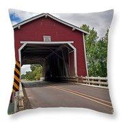 Red Covered Bridge Shimanek Art Prints Throw Pillow