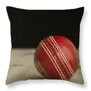 Red Cricket Ball Throw Pillow