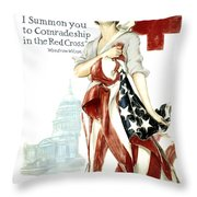 Red Cross World War 1 Poster  1918 Throw Pillow by Daniel Hagerman