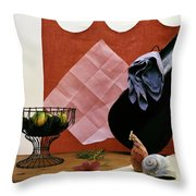 Red Curtains Throw Pillow