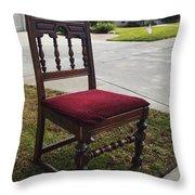 Red Cushion Chair Throw Pillow