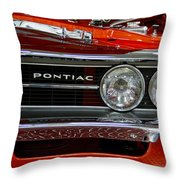 Red Customized Retro Pontiac-front Left Throw Pillow