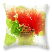 Red Cyclamen On Windowsill Throw Pillow