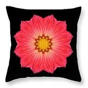Red Dahlia Hybrid I Flower Mandala Throw Pillow