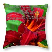 Red Day Lily And Quote Throw Pillow