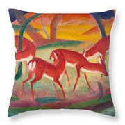 Red Deer 1 Throw Pillow