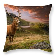 Red Deer Stag And Mopuntains Throw Pillow