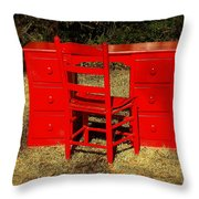 Red Desk And Chair Throw Pillow