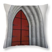 Red Door At Our Lady Of The Atonement Throw Pillow
