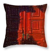 Red Door Behind Mysterious Shadow  Throw Pillow