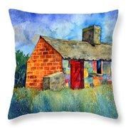 Red Door Cottage Throw Pillow