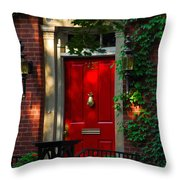 Red Door In Chicago Throw Pillow