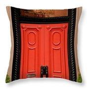 Red Door On New York City Brownstone Throw Pillow