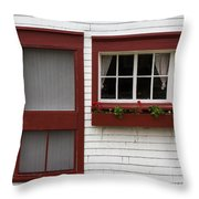 Red Door Red Window Throw Pillow