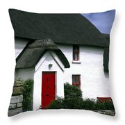 Red Door Thatched Roof Throw Pillow