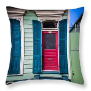 Red Doored House Throw Pillow