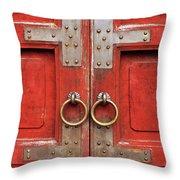 Red Doors 01 Throw Pillow