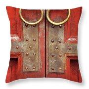 Red Doors 02 Throw Pillow