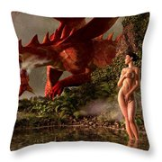 Red Dragon And Nude Bather Throw Pillow