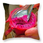 Red Dragon Fruit In Sukhothai-thailand Throw Pillow