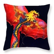 Red Dragon Kite Throw Pillow