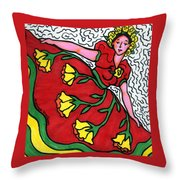 Red Dress With Yellow Roses Throw Pillow