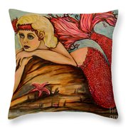 Red Dust Mermaid Throw Pillow