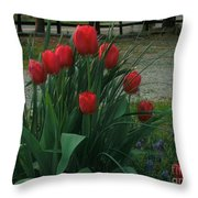 Red Dynasty Red Tulips Throw Pillow