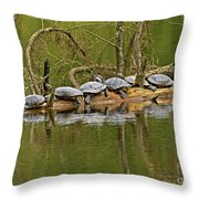Red Eared Slider Turtles 2 Throw Pillow