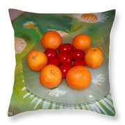 Red Eggs And Oranges Throw Pillow