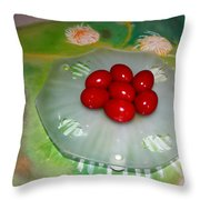 Red Eggs And Daisies Throw Pillow