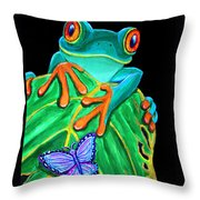 Red-eyed Tree Frog And Butterfly Throw Pillow